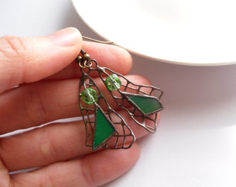 Wire earrings, contemporary jewelry, stained glass earrings, best friend gift, green beaded earrings, gift for women, funky jewelry,