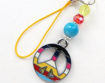 RADIANT PEACE- Beaded Zipper Pull- Peace Charm, Crystal, and Lucite Beads with Silver Accents