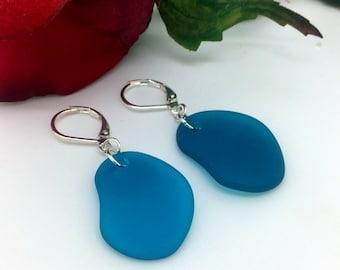 Sea Glass Earrings     Teal Sea Glass Earrings      Item 1563