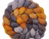Hand painted roving - Shetland wool spinning fiber - 4.2 ounces - Rich Ore 1