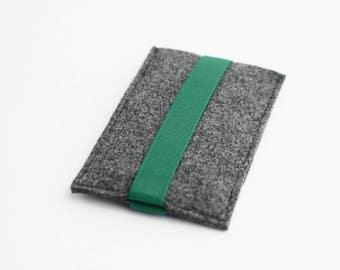 iPhone 7 Plus felt sleeve, iPhone 6 Plus felt case, gray with green strap