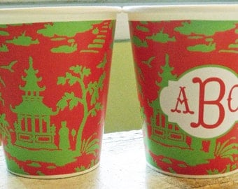 Personalized or Plain Red and Green Chinoiserie Hot/Cold Paper Party Cups - Set of 12