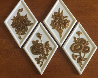 4 Vintage Mid Century Floral Wall Plaques by Decorama