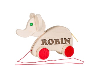 Wooden elephant toy with engraved name, customized with your name. Birth gift