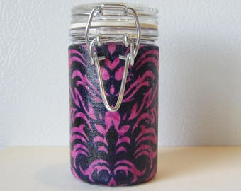 Small Glass Stash Jar : Latch Top Jar - Navy and Pink Flower
