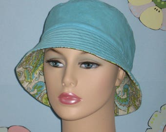 Bucket Hat Hair Loss Hat  Handmade in the USA.  ( For Size Guide, see 'Item Details' below photos) SMALL/MEDIUM