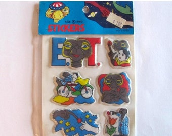 SALE Rare Vintage ET The Extra Terrestrial Puffy Stickers - 80's New in the Package Alien Ufo E.T.