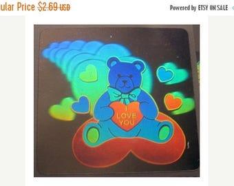SALE Rare Vintage Hologram Love Bear Sticker Holographic