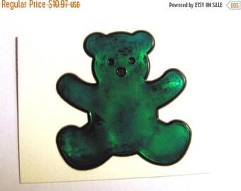 SALE Teddy Bear Vintage Sandylion Magi-cals Oilie Liquid Sticker - 80's Oily Teal Green