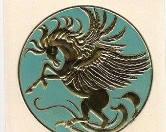 SALE Very Rare Vintage Illuminations Embossed Foil Pegasus Sticker - 1982 Mint Green Wings Horse Fantasy