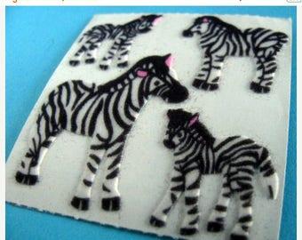 SALE Vintage Sandylion Fuzzy Zebra Stickers 80's