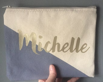 Personalized name color block Zipper Pouch Clutch Make up bag diaper bag accessory Custom colors wisteria gold