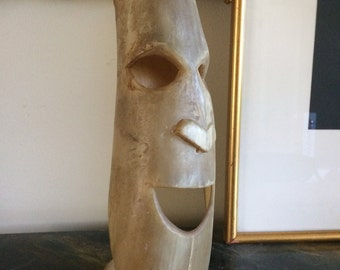 Carved Horn Primitive Statement Folk Art