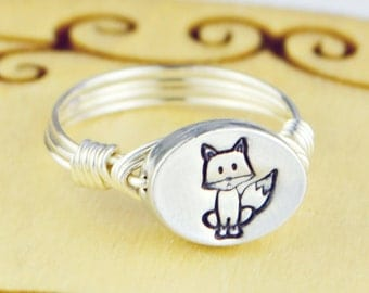 Sitting Fox Ring-Sterling Silver Filled Wire Wrapped Ring with Hand Stamped Pewter Bead- Any Size 4, 5, 6, 7, 8, 9, 10, 11, 12, 13, 14