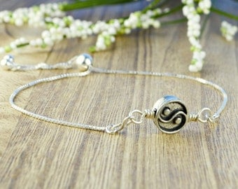 Yin and Yang Pewter Bead Adjustable Sterling Silver Interchangeable Charm/Link Bolo Bracelet- Charm, Bracelet Chain, or Both
