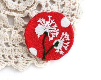 Brooch - Embroidery Brooch - Brooch Pin - Vegan Brooch - Brooch - Floral Brooch - Embroidery Dandelion - Vegan - Handmade Embroidery