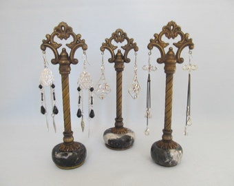 Retail Earring Display Stands | Set of 3 | Salvaged Metal Lamp Parts | Vintage Finials | Retail Fixture