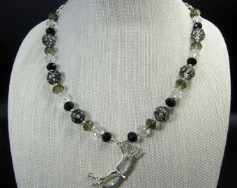 Glass Bead Necklace with Mask Pendant