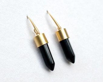 Onyx stick Earrings, minimalist earrings  by pardes israel
