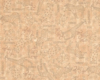 SALE SALE SALE Wild Things Tan Animal Sketches from Quilting Treasures