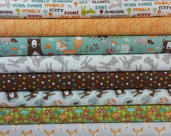 Forest Friends Bundle from 3 Wishes Fabrics (9 Fabrics - See Notes) - Woodland Animals