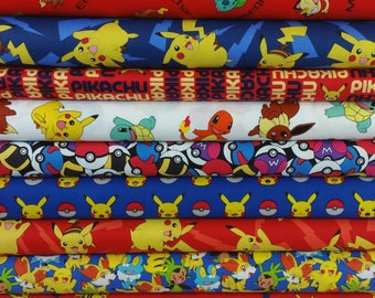 Super Pokemon Red & Blue Bundle from Robert Kaufman - 9 Fabrics