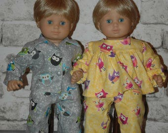 American, made, doll, flannel, pajamas, bitty, twin, 15 inch doll
