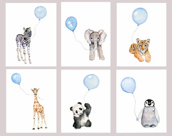 Baby Boy Nursery art prints, Set of 6, Pastel Blue nursery, nursery print set, boy's nursery, baby animals watercolor, child's wall art,