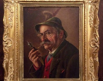 Sale Antique Vintage Oil Painting Portrait of a Man Smoking Tobacco Pipe O/B Art W. Roessler European Genre Home Decor