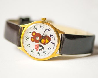 Mascot Misha watch, fun watch gift, rare wristwatch Bear Cub Olympics games in Moscow, tomboy watch gold plated, genuine leather strap new
