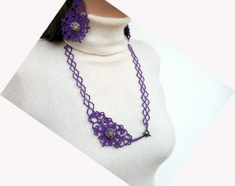 Tatted Lace Jewelry set purple - gift for Her - Needlecraft - gift for wife - vintage style - OOAK - handmade lace - party cocktail
