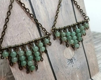 Natural Aventurine & Chain Chandelier Earrings
