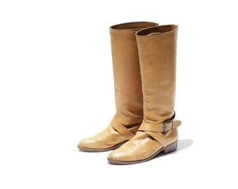 Vintage Tan Leather Tall Boots / size 7