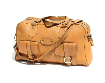 Vintage Bryant Gold Tan Leather Overnight Bag