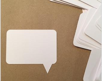 Paper Speech Bubbles Cutouts Die Cuts | Set of 100 Pcs | White tag Card stock, Party supplies, Favors, Scrapbooking Embellishments