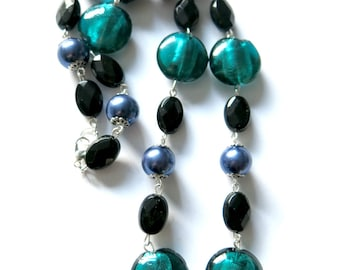 Necklace Purplish blue Petrol and Black Recycled Repurposed