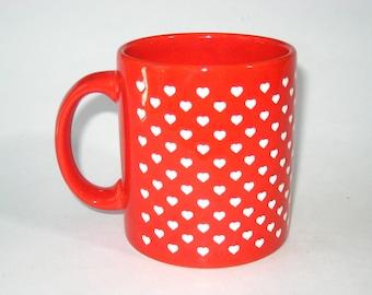 Waechtersbach Pottery Red Coffee Mug w/ Tiny White Hearts - W. Germany - Valentines Day