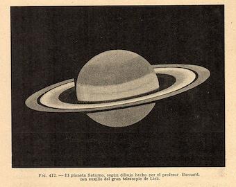 1912 SATURN 412 Original Vintage Space Astronomy Print