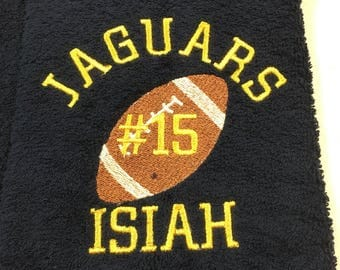 Football towels, personalized gift, football towel, sport towel, team orders get .50 per towel discount on custom orders