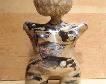Black and Cream Toned Female Figure Garden Sculpture Ceramic Planter, Succulent Planter, Cactus Planter, Flower Pot, Ready to Ship