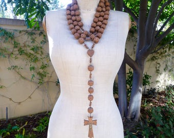 Vintage French Rosary, French Souvenir Lourdes, Large Wood Rosary, Chapelet Nuns Rosary Hanging Rosary, Catholic Gift