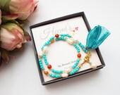 Turquoise Wrap Bracelet - Birthday Gift for Best Friend - Wrap Around Bracelet - Tassel Bracelet - Beaded Bracelet -  Boho Bracelet