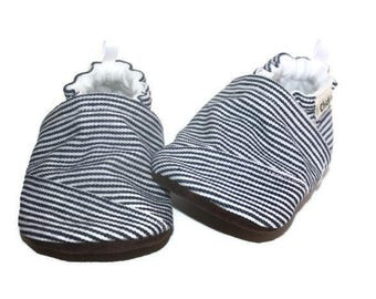 Denim baby shoes jean baby shoes blue stripe baby shoe slippers baby booties soft sole  vegan shoes boy shoes girl shoes toddler