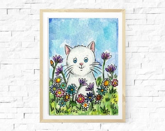 white cat watercolour painting, aceo art, original art