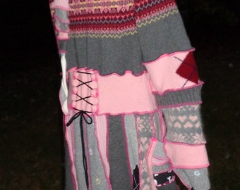 Medium to Large hooded elf coat of upcycled sweaters in pink and gray with cute skulls ready to ship