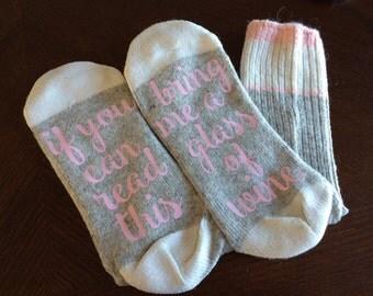 Women's Wine Socks, If You Can Read This Socks, Wine Socks, Funny Birthday Gift Present Wool Wine Socks Bring Me Wine Cute Gift Idea Wine
