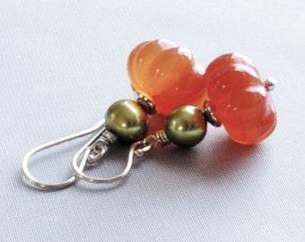 Carnelian Jewelry Dangle Earrings Sterling Silver Freshwater Pearl Orange Green Pumpkin Earrings Fall Farm Wedding Jewelry Autumn Bridesmaid