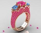 Classic 14K Rose Gold Three Stone Princess Pink Sapphire Blue Topaz Azure Solitaire Ring R783P-14KRGBTPS