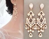 Rose gold chandelier earrings, Rose gold crystal chandelier earrings,Rose gold Statement earrings,Rose gold chandelier wedding earrings,ABRI