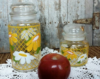 Vintage Kitsch Floral Cannisters Set by Holding - Retro 1980's  Organizing Jars, Kitchen Cannisters, Flour + Sugar Jars, Spice Containers